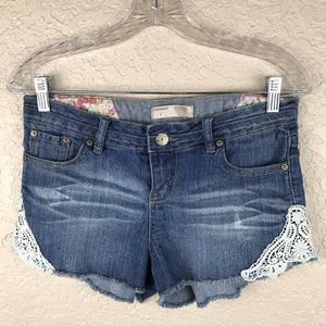 No Boundaries Denim Short with Lace trim